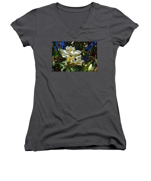 Magnolia Blossoms Women's V-Neck T-Shirt (Junior Cut)