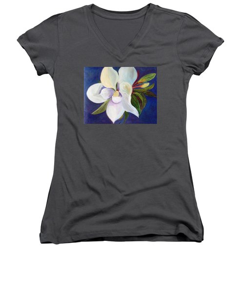 Magnolia Painting Women's V-Neck (Athletic Fit)