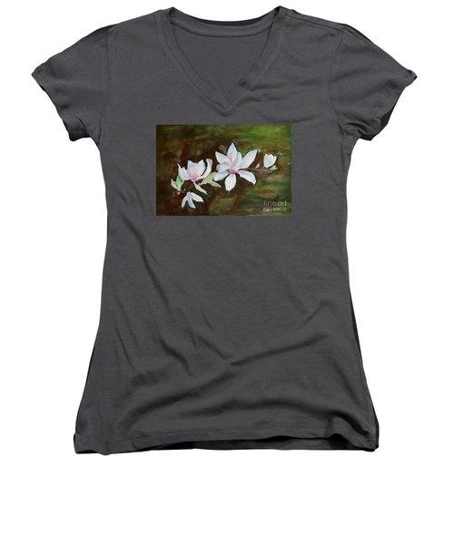 Magnolia - Painting  Women's V-Neck T-Shirt
