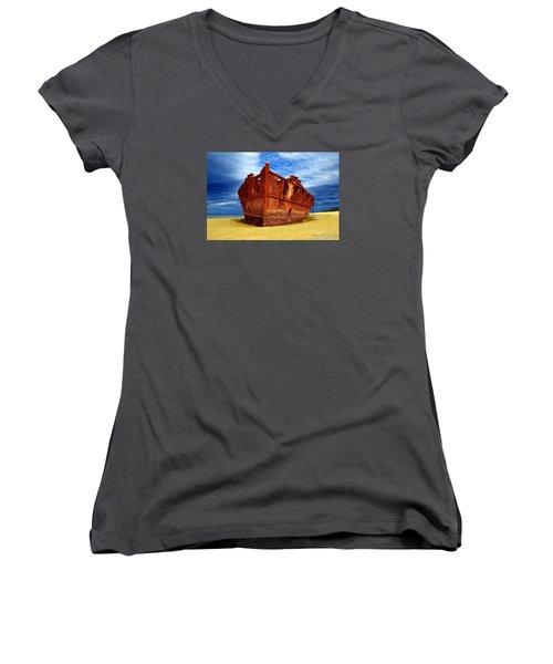 Maheno Shipwreck Fraser Island Queensland Australia Women's V-Neck T-Shirt (Junior Cut) by Gary Crockett