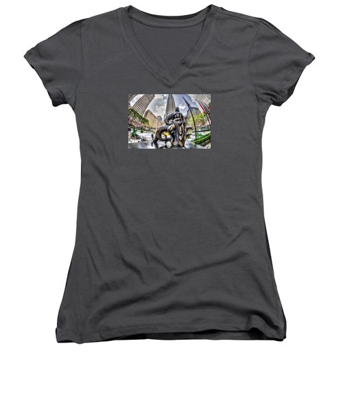Maiden Women's V-Neck T-Shirt (Junior Cut) by Rafael Quirindongo