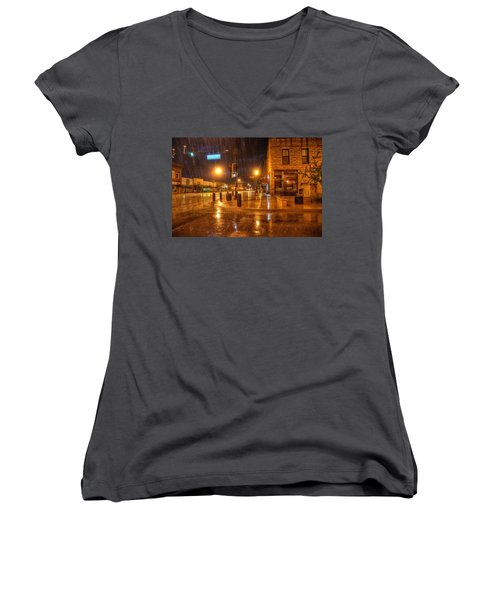 Women's V-Neck featuring the photograph Main And Hudson by Fiskr Larsen