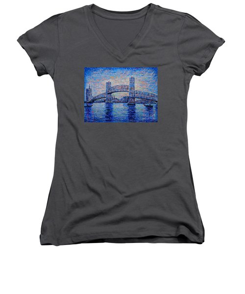 Women's V-Neck T-Shirt (Junior Cut) featuring the painting Main St.bridge,#2 by Viktor Lazarev