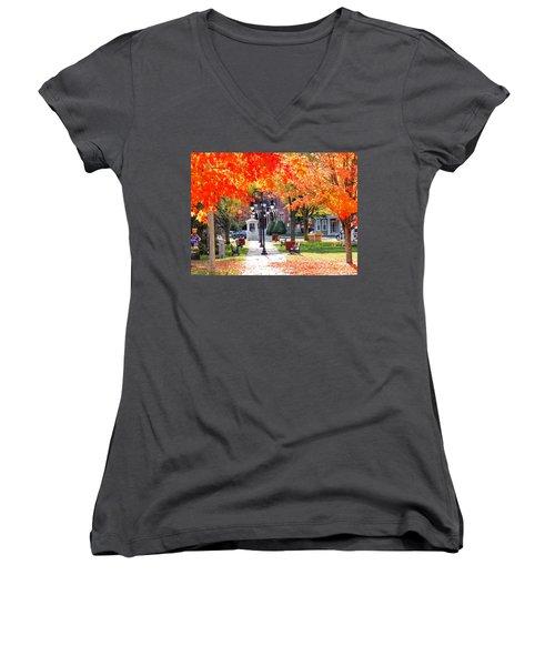 Main Street In The Fall Women's V-Neck