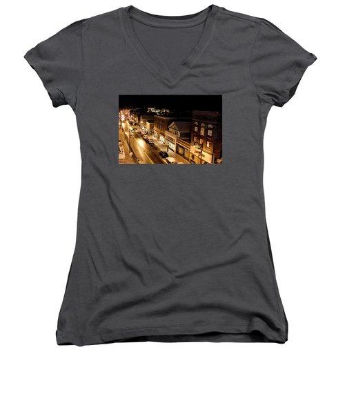Women's V-Neck T-Shirt (Junior Cut) featuring the photograph Main Street - Lake Placid New York by Brendan Reals
