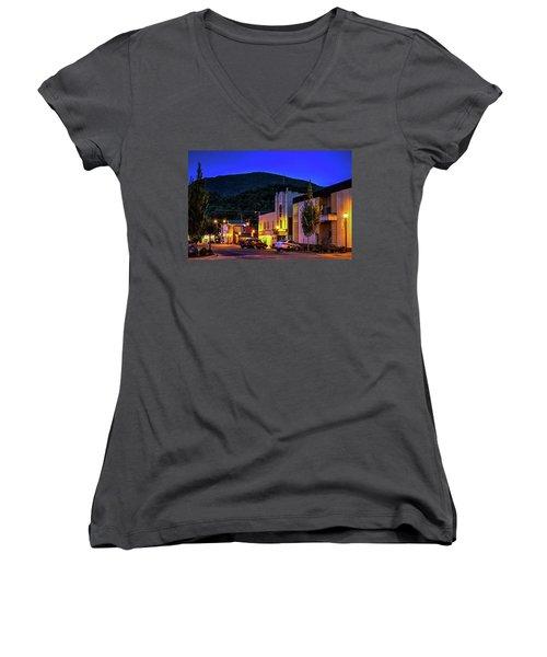 Main Street Lights Women's V-Neck T-Shirt (Junior Cut) by Dale R Carlson