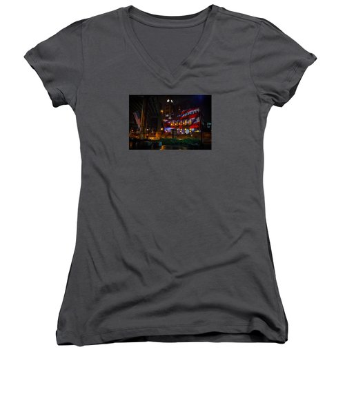 Main Street Station At Night Women's V-Neck (Athletic Fit)