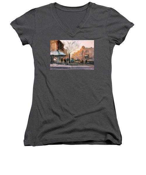 Main Street - Steven's Point Women's V-Neck T-Shirt (Junior Cut) by Ryan Radke