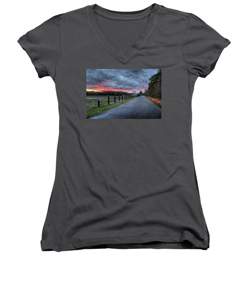 Main Sunset Women's V-Neck T-Shirt (Junior Cut) by John Loreaux