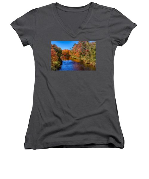 Maine Brook In Afternoon With Fall Color Reflection Women's V-Neck
