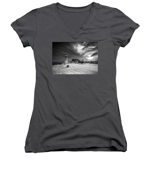 Women's V-Neck T-Shirt (Junior Cut) featuring the photograph Maine Coastal Storm Over Pemaquid Lighthouse by Ranjay Mitra
