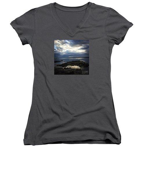 Maine Drama Women's V-Neck T-Shirt (Junior Cut) by LeeAnn Kendall