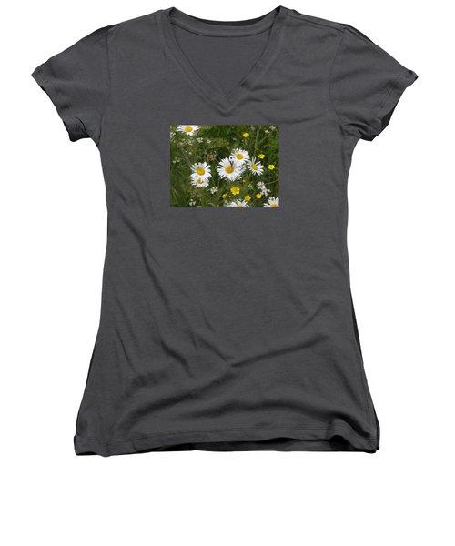 Maine Flowers Women's V-Neck T-Shirt (Junior Cut) by Helen Haw