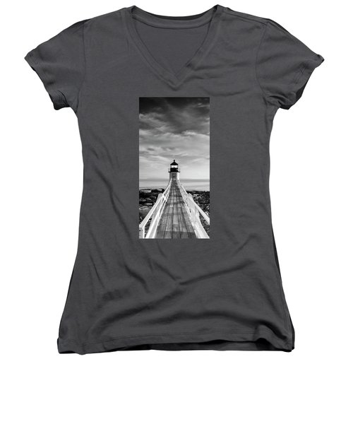 Maine Marshall Point Lighthouse Vertical Panorama In Black And White Women's V-Neck