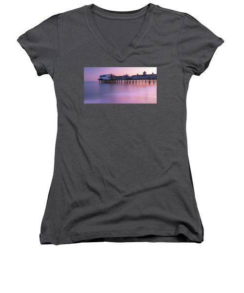 Maine Oob Pier At Sunset Panorama Women's V-Neck T-Shirt (Junior Cut) by Ranjay Mitra