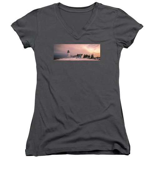 Maine Pemaquid Lighthouse After Winter Snow Storm Women's V-Neck T-Shirt (Junior Cut) by Ranjay Mitra