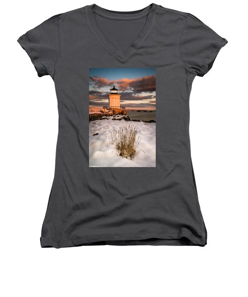 Maine Portland Bug Light Lighthouse Sunset  Women's V-Neck