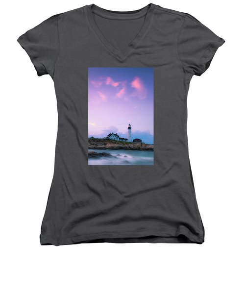 Maine Portland Headlight Lighthouse In Blue Hour Women's V-Neck