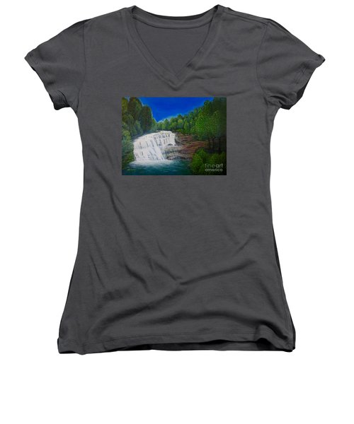 Majestic Bald River Falls Of Appalachia II Women's V-Neck (Athletic Fit)