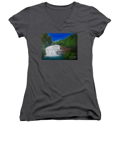 Majestic Bald River Falls Of Appalachia II Women's V-Neck T-Shirt