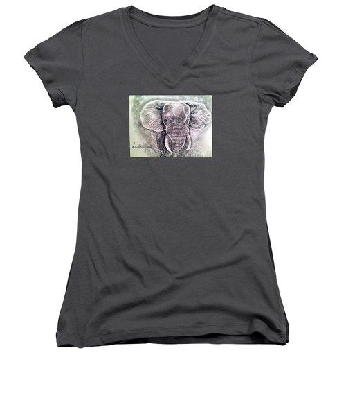 Majestic Elephant Women's V-Neck T-Shirt (Junior Cut) by Brindha Naveen