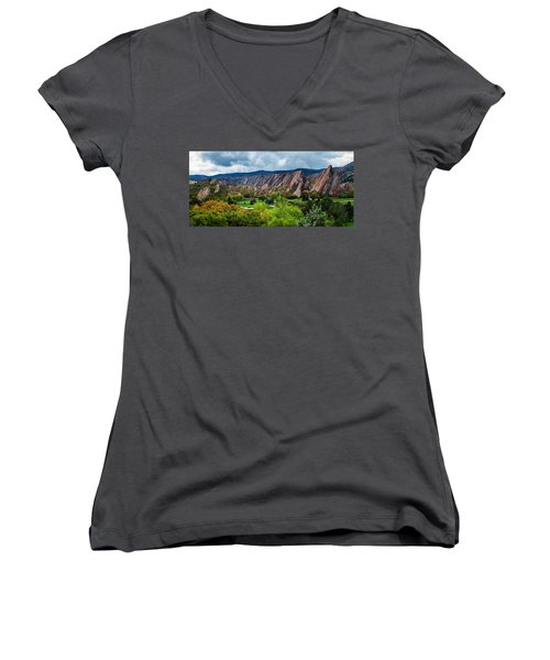 Women's V-Neck T-Shirt (Junior Cut) featuring the photograph Majestic Foothills by Kristal Kraft