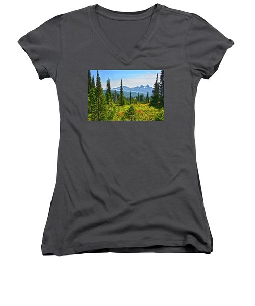 Majestic Meadows Women's V-Neck T-Shirt (Junior Cut) by Angelo Marcialis