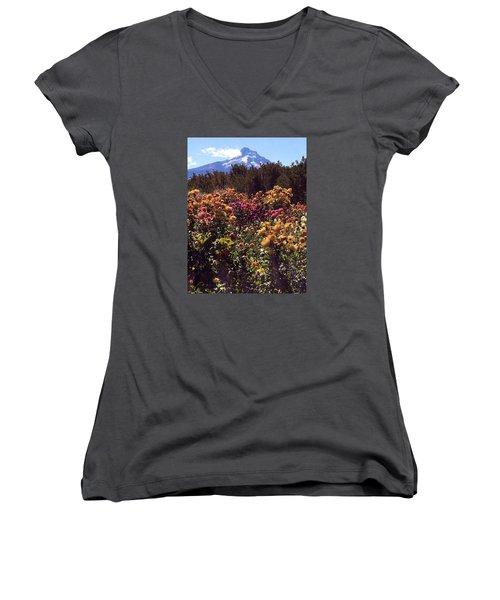 Majestic Mount Hood  Women's V-Neck T-Shirt (Junior Cut) by Jennifer Lake