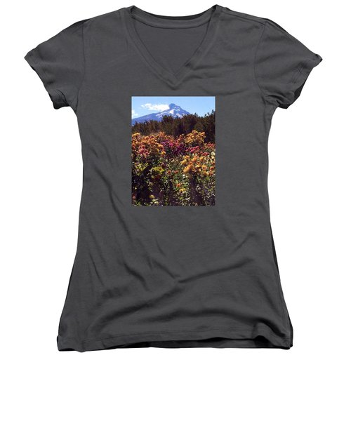 Majestic Mount Hood  Women's V-Neck T-Shirt (Junior Cut)