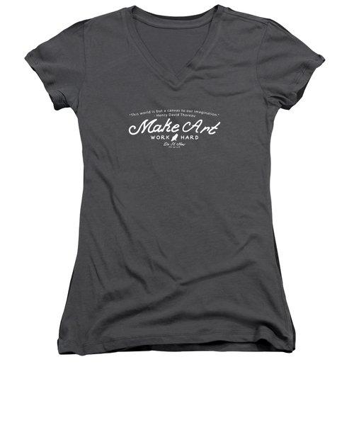 Women's V-Neck T-Shirt (Junior Cut) featuring the digital art Make Art Work Hard by Edward Fielding