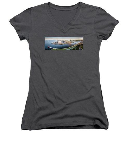 Women's V-Neck T-Shirt featuring the photograph Making Milorganite by Randy Scherkenbach