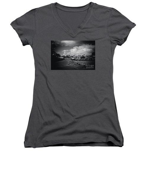Women's V-Neck T-Shirt (Junior Cut) featuring the photograph Mala Wharf Ala Moana Street Lahaina Maui Hawaii by Sharon Mau