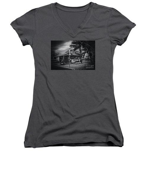 Women's V-Neck T-Shirt (Junior Cut) featuring the photograph Mala Wharf Showers Lahaina Maui Hawaii by Sharon Mau