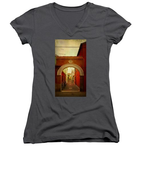 Women's V-Neck T-Shirt (Junior Cut) featuring the photograph Malamocco Arch No1 by Anne Kotan