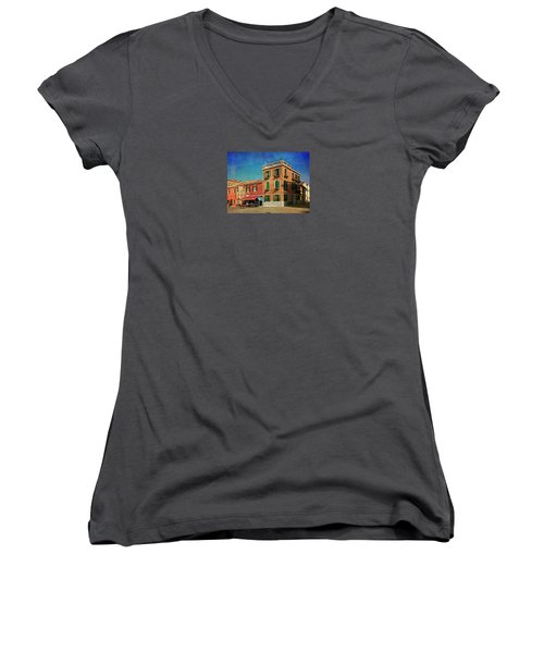 Women's V-Neck T-Shirt (Junior Cut) featuring the photograph Malamocco Corner No3 by Anne Kotan