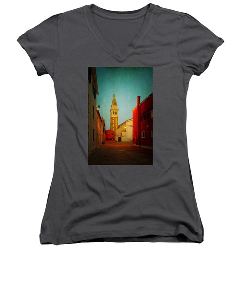 Women's V-Neck T-Shirt (Junior Cut) featuring the photograph Malamocco Dusk No1 by Anne Kotan