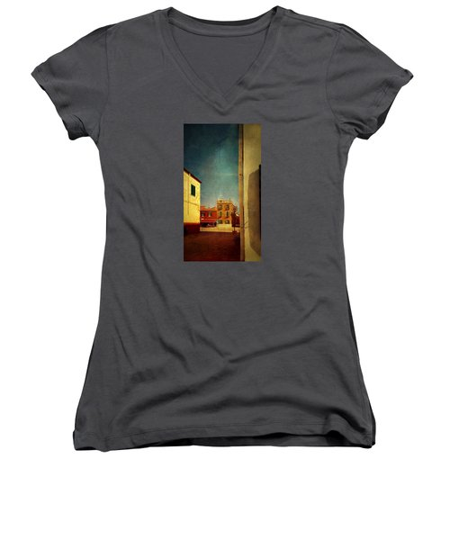 Women's V-Neck T-Shirt (Junior Cut) featuring the photograph Malamocco Glimpse No1 by Anne Kotan