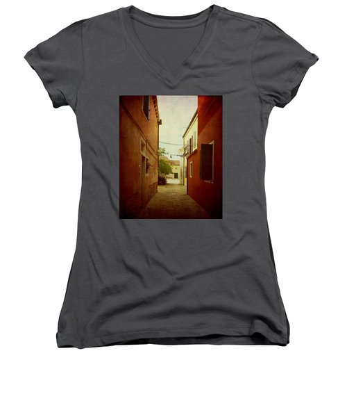 Women's V-Neck T-Shirt (Junior Cut) featuring the photograph Malamocco Perspective No2 by Anne Kotan
