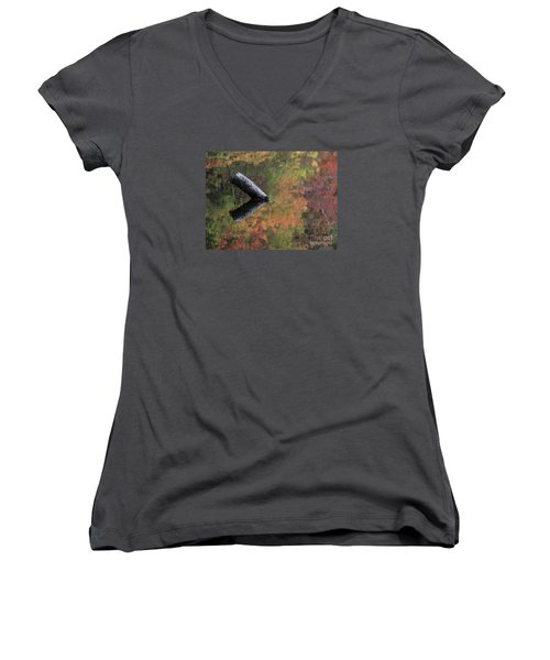 Malbourn Pond Abstract Women's V-Neck (Athletic Fit)
