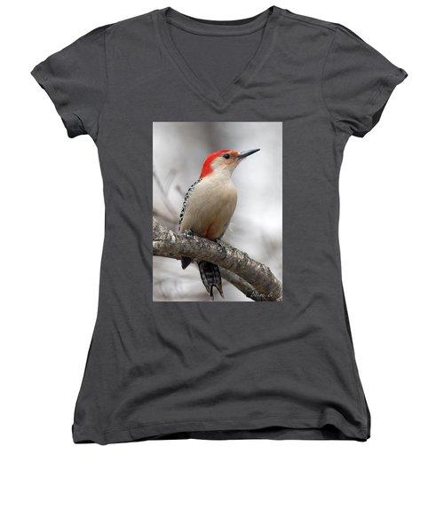 Male Red-bellied Woodpecker Women's V-Neck T-Shirt