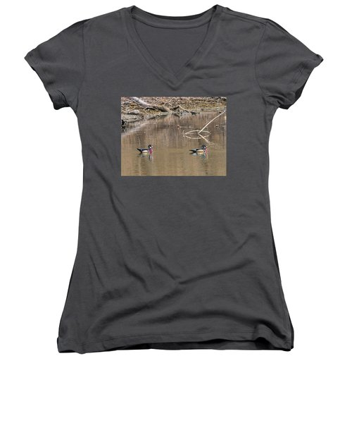 Male Wood Ducks Women's V-Neck T-Shirt (Junior Cut) by Edward Peterson