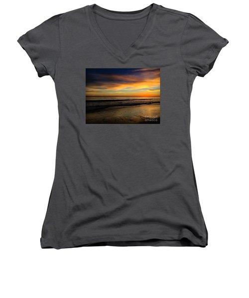 Malibu Beach Sunset Women's V-Neck T-Shirt (Junior Cut) by Chris Tarpening