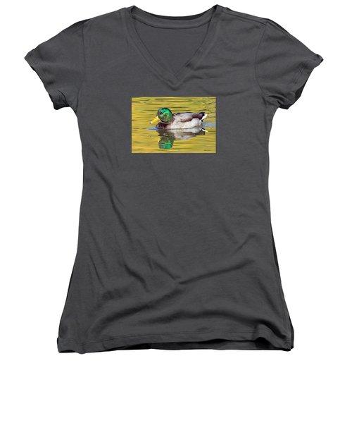 Mallard Drake On Golden Pond Women's V-Neck T-Shirt (Junior Cut) by Stephen  Johnson