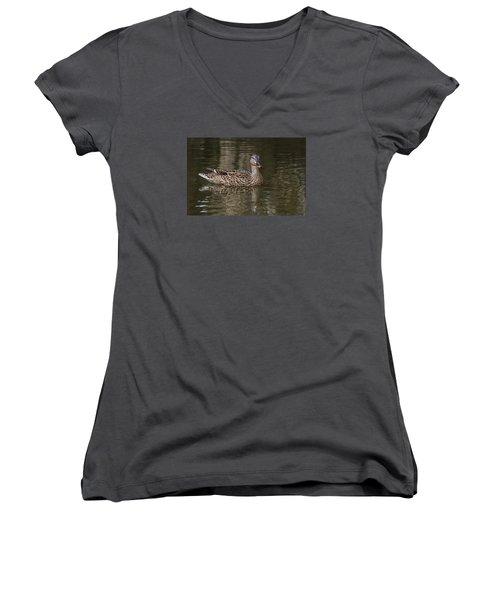 Mallard Hen Women's V-Neck T-Shirt (Junior Cut) by Elaine Malott