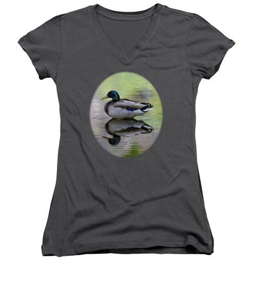Women's V-Neck T-Shirt (Junior Cut) featuring the photograph Mallard In Mountain Water by Mark Myhaver