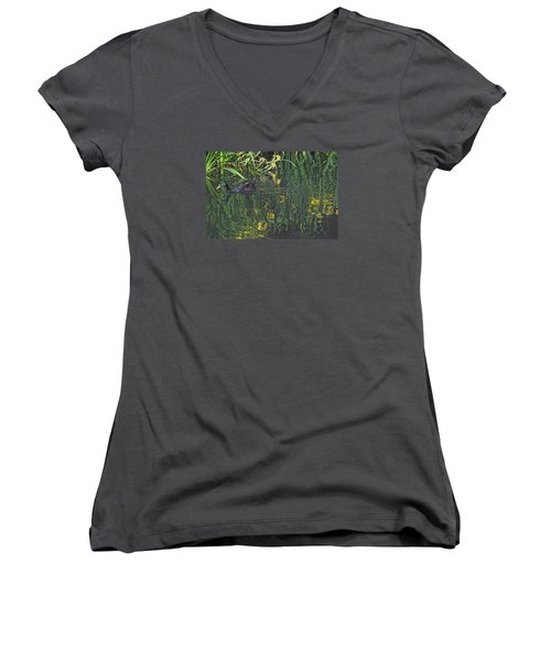 Mallard In The Marsh Women's V-Neck T-Shirt (Junior Cut) by Suzy Piatt