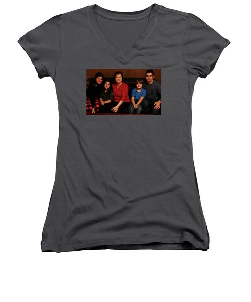 Women's V-Neck T-Shirt (Junior Cut) featuring the photograph Mamma And Kids by Gene Gregory