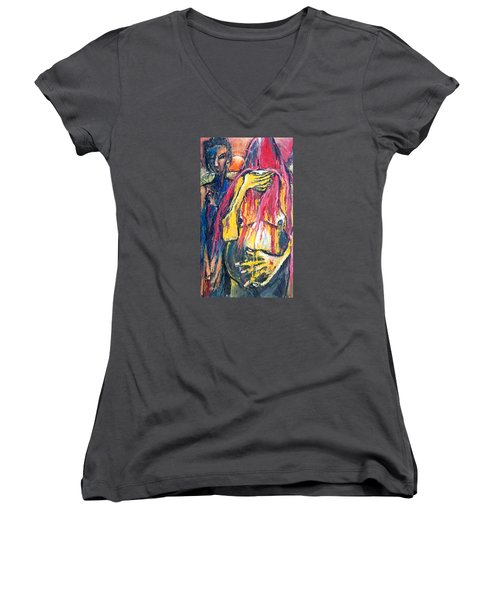 Women's V-Neck T-Shirt (Junior Cut) featuring the painting Man And Woman Pregnant by Kenneth Agnello