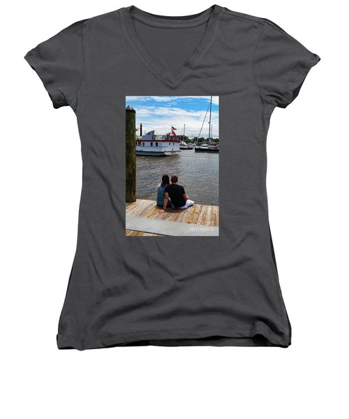 Man And Woman Sitting On Dock Women's V-Neck