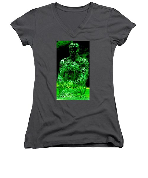 Man In Green Women's V-Neck (Athletic Fit)